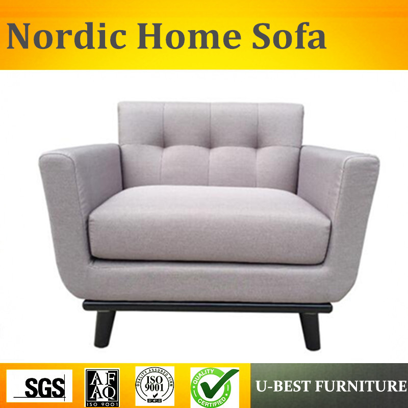 U-BEST Nordic style leisure simple wooden home furniture, fabric upholstered sofa arm chair nordic fabric down fabric simple modern sofa