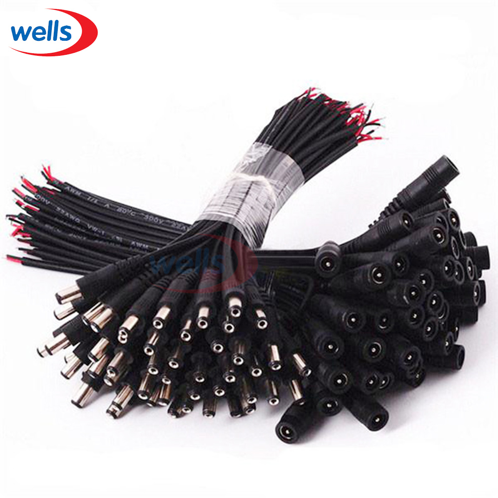 Hot sell DC female male 5.5x2.1 Connector Plug Cable Wire For CCTV Camera and 3528 5050 LED Strip Light 10pair 12v push dc connector adapter for 5050 3528 single color led strip and cctv camera 5 5x2 1mm no screw 10x female 10x male