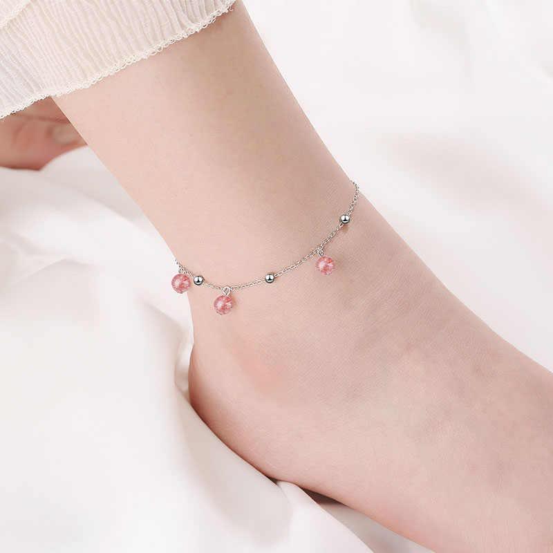 女性足首チェーンブレスレットファッションジュエリーピンク色本物の 925 スターリングシルバー足チェーンリンク足首ブレスレット姉妹