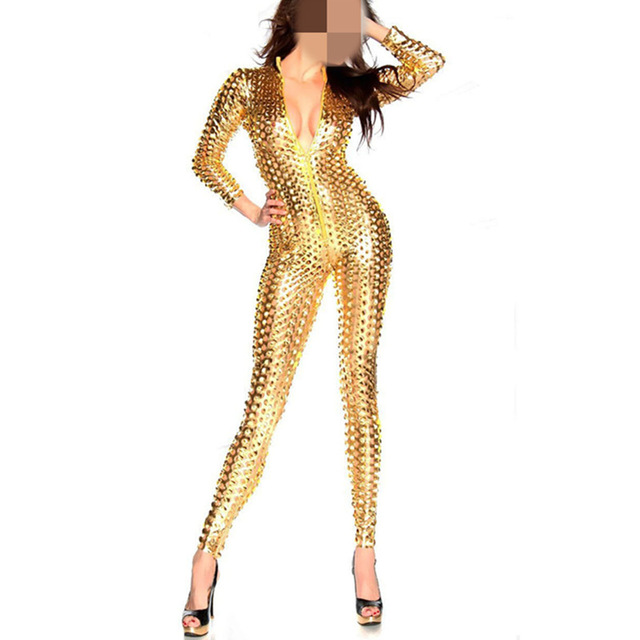 Adult Women Sexy Shiny Leather Latex Gold Jumpsuit Hollow Out Hole DJ Dance 3 Colors Bodysuit Catsuit Exotic Clubwear
