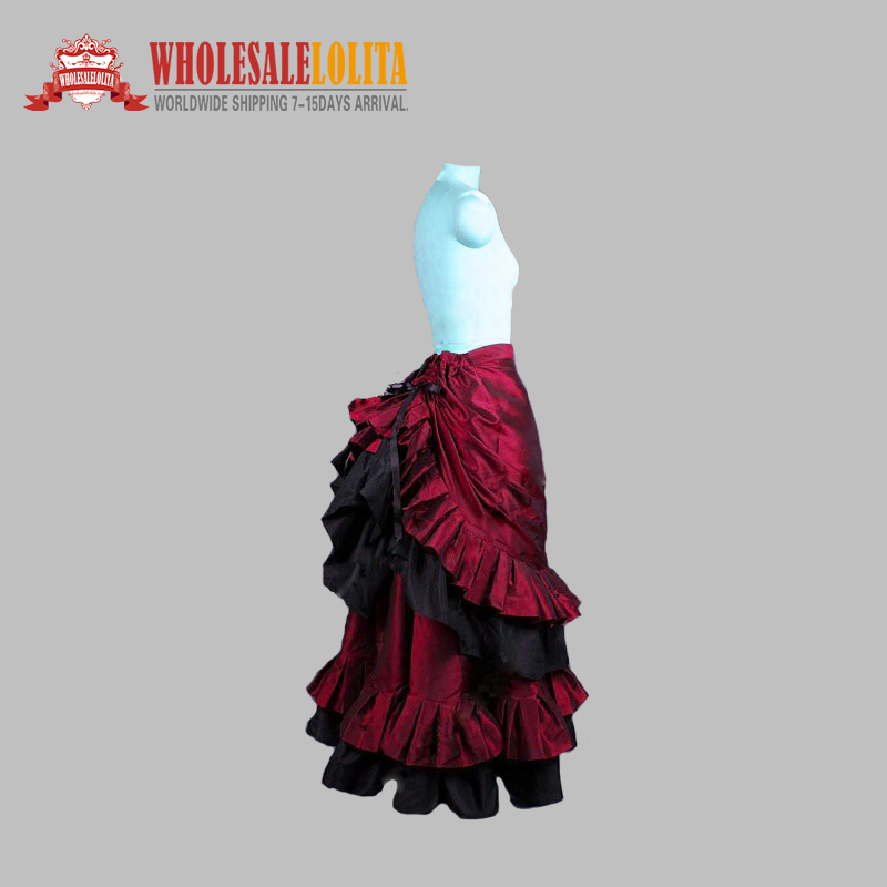 High Quality Victorian Edwardian Downton Abbey Burgundy Pleated Gathered Bustle Walking Skirt Theatrical Costume