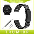 22mm Correa de Liberación Rápida para el Vector Luna/Meridian Inteligente Venda de reloj de la Correa de Acero Inoxidable Brazalete de Eslabones de Plata Negro + herramienta