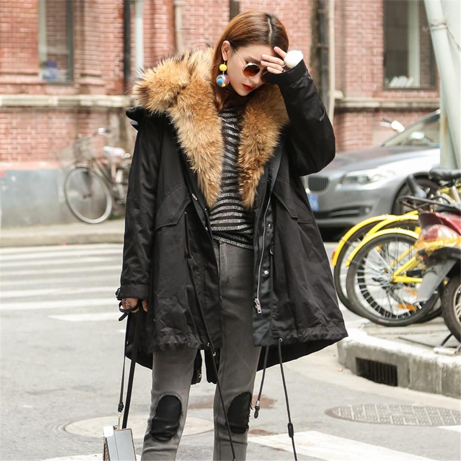 Длинные из натурального меха енота Парка женская зимняя натуральным мехом parkacoat Женская куртка с натуральным мехом парки природа коричневы