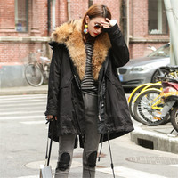 Long Real Raccoon fur parka women winter real fur parkacoat women jacket with real fur parkas Nature Brown