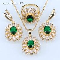 L & B Best подарок для вечеринки Золотой Цвет Зеленый создания Изумрудный Белый Кристалл Ювелирные наборы для Для женщин и леди