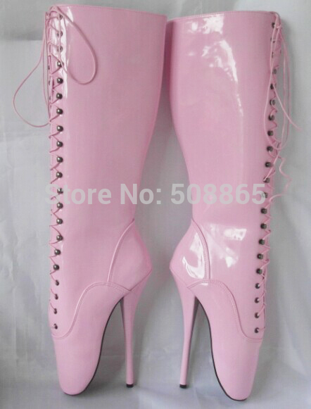 f1a8f573379 Women s summer boots 18CM Extreme High Heels pink light leather Stiletto  lace-up knee High