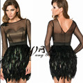 Long Sleeves Feather Elegant Evening Celebrity Black Cocktail Dress 2017 For Party