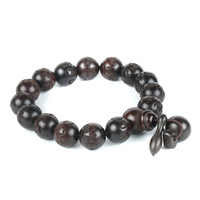 Prayer Beads Bracelets Om Mani Padme Hum Mantra Hand Carved Round Peach Wood Malas Tibetan Buddhist