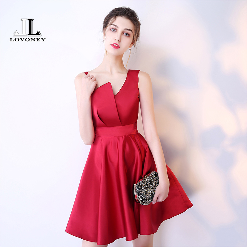 LOVONEY Sexy   Cocktail     Dresses   2019 A-Line Short Satin Black Party   Dresses   Women Occasion   Dress   Prom Gown Robe De   Cocktail   HS216