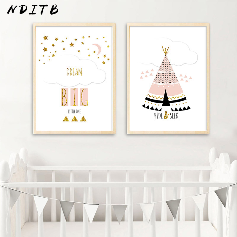 NDITB Cartoon Woodland Animal Poster and Print Fox Bear Nursery Quotes Nordic Wall Painting Prints Baby Girl Room Decor in Painting Calligraphy from Home Garden