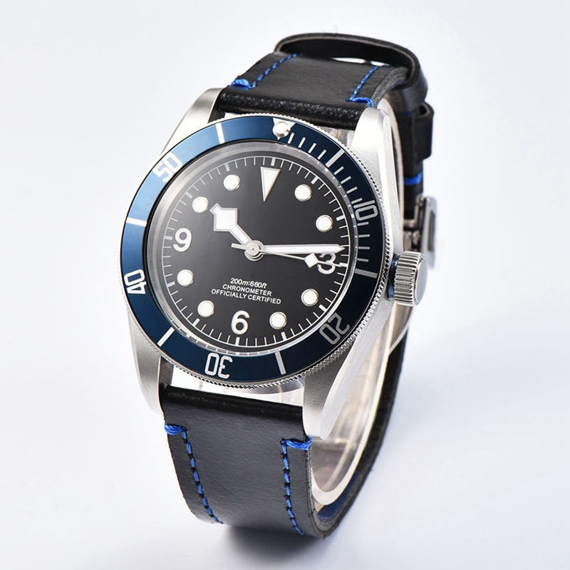 41mm Mens Automatic Watch, Black Luminous Dial Blue Bezel Sterile WristWatch Sapphire Glass Miyota 8215 Mov't Wathces WCA2010BLW temperature and humidity sensor protective shell sht10 protective sleeve sht20 flue cured tobacco high humidity