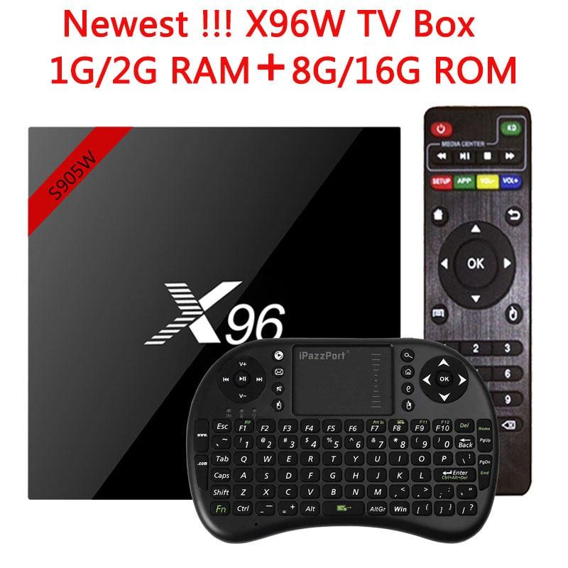 Original X96 X96W Smart TV Box Media Player Caixa de TV Android 7.1 S905W Amlogic CPU 1G/8G 2G/16G 2.4 GHz WiFi HD 4 K Conjunto top Box