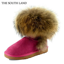 THE SOUTH LAND Genuine Leather Real Raccoon Boots 25 40 size snow boots fur boots winter