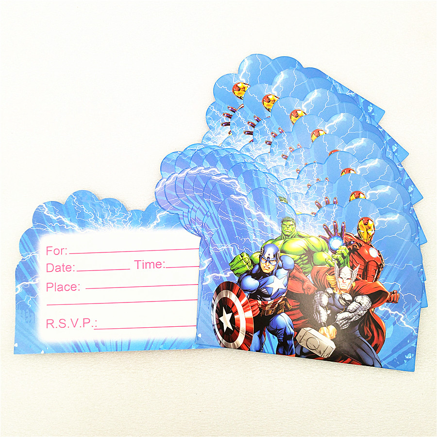 10pc Avengers Invitation Card Cartoon Theme Party Supplies Baby Shower For Kids Birthday Party Decoration Superhero Festival in Cards Invitations from Home Garden
