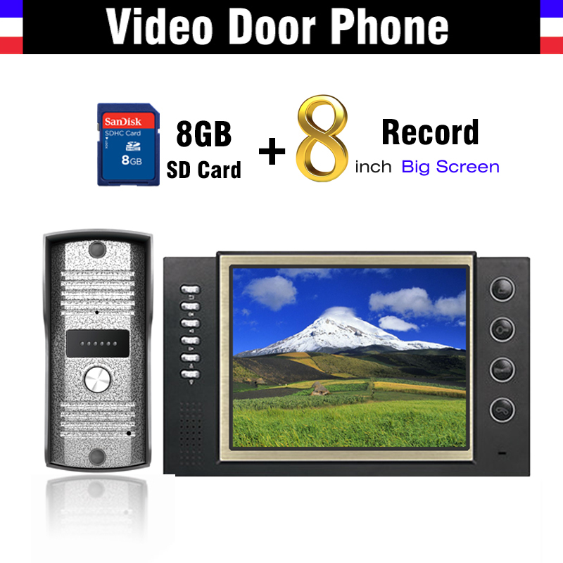 8 inch LCD Monitor Video Record Door Phone Doorbell System Video Intercom 8G Card Recording IR Night Vision Outdoor Camera jeatone 4 inch color screen display monitor picture and video record video door phone intercom hd doorbell camera night vision