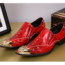 Plus Size 38-46 Pointed Toe Mens Shoes Fashion Brand Rivet Red Wedding Shoes for Men Individuality Genuine Leather Men Shoes