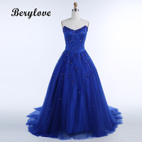 BeryLove Shining Balo Kraliyet Mavi Quinceanera Elbiseler 2018 Uzun Straplez Boncuklu Gelinlik Örgün Parti Elbise