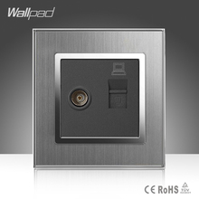 цены TV + Data Socket Wallpad Luxury 110-250V Brushed Metal UK EU Standard Television and Data RJ45 Lan Cable Jack Wall Socket