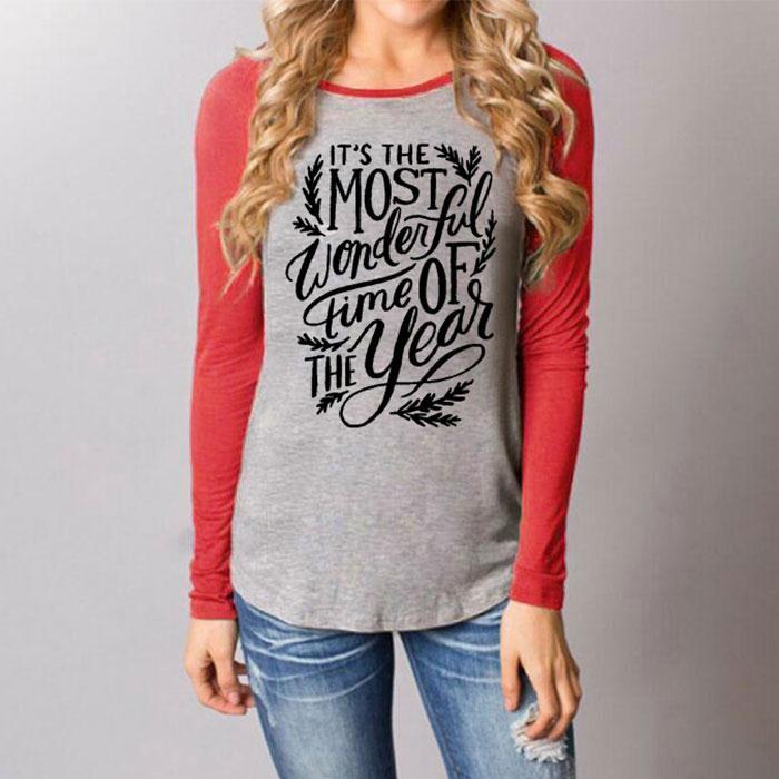 Для женщин футболка замечательное время года Письмо печати с длинным рукавом Повседневное Футболка Мода o-образным вырезом женские футболк...