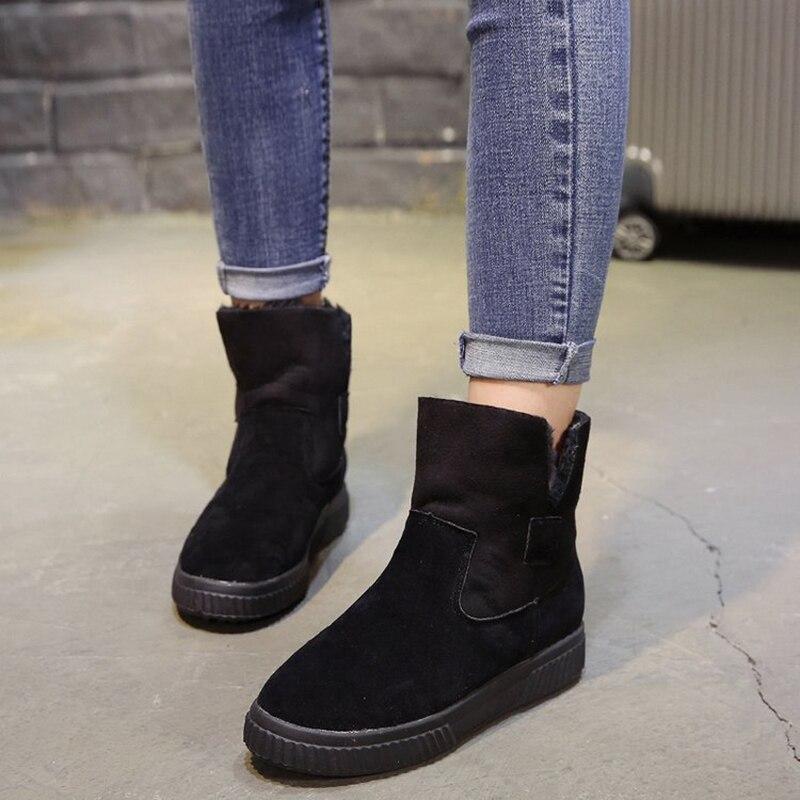 Hiver Plana Grueso Femme Con Punta Flock De Mujer 2018 kaki Botas Invierno Nieve Redonda Slip on Chaussures Black Soleplush Zn05wqXXx