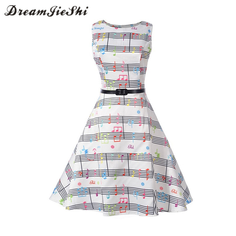 Dreamjieshi Cute Women 2017 Summer Vintage Midi Dress Music Note Print Female Casual big swing Retro