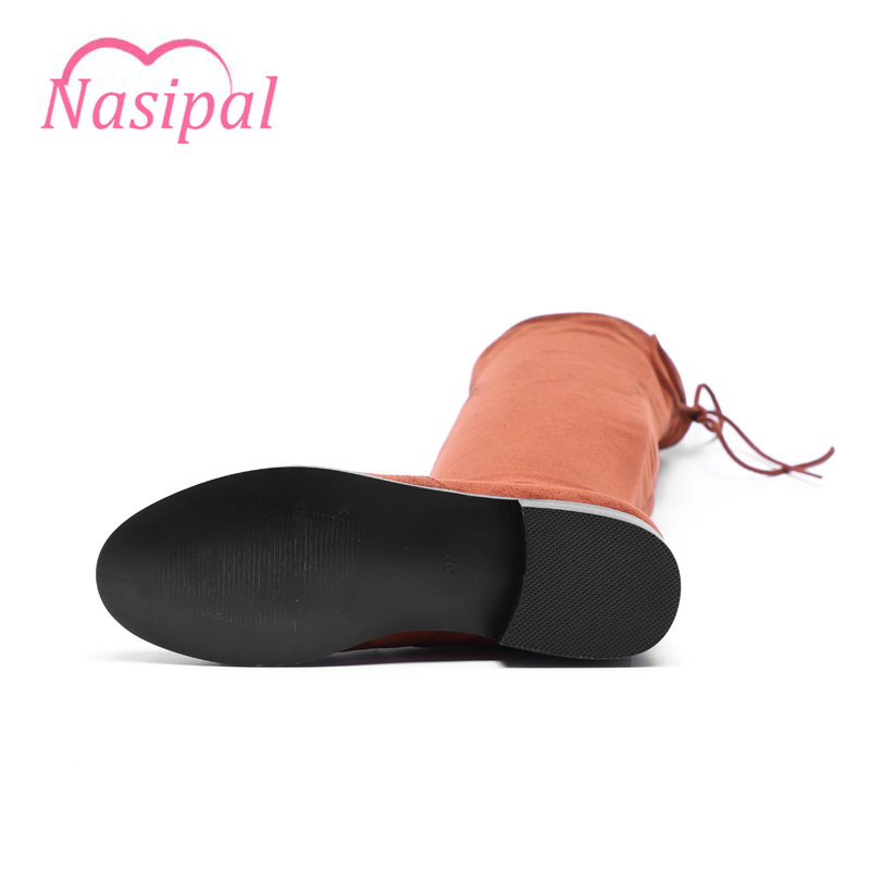 Nasipal Faux Suede Winter Boots Women Sexy Over The Knee High Women Flat Slim Boots Womens Fashion Winter Thigh High Boots C154