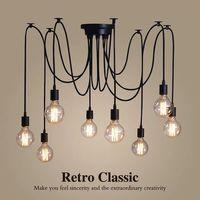 תאורת נברשת מנורת אדיסון רטרו DIY צורת עכביש Lamparas אורות לופט נורדי בבית בסגנון וינטאג 'דה Techo Prestigio