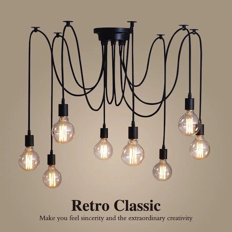 DIY Retro Edison Lamp Chandelier Lighting Spider Shape Nordic Loft Style Vintage Home Lights Lamparas De Techo Prestigio