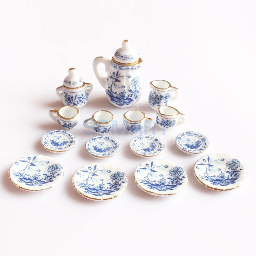 15 Peices Dolls House Miniatures Dining Ware Porcelain Tea Set Pot Dish Cup Plate Blue Flower ...