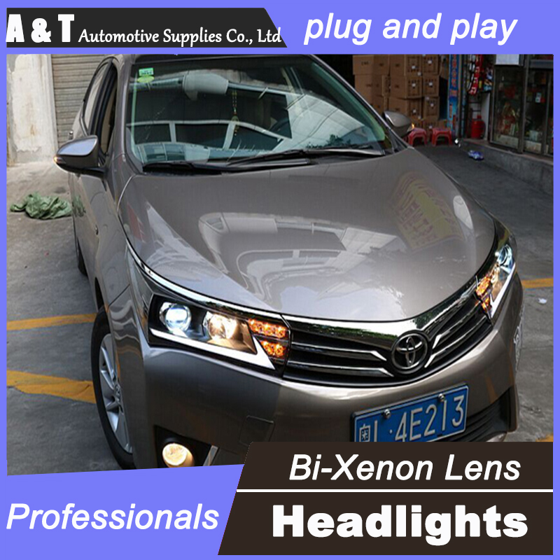 car styling For Toyota Corolla headlight assembly 2014 for Corolla bi xenon lens h7 with hid kit 2 pcs. air intake aluminium pipe kit for toyota corolla 1 6 1 8 2 0 rumion of rh drive noah pls contact for other car models