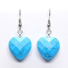 100-Unique Romantic Style 1 Pair Silver Plated Cute Heart Blue Turquoises Earrings Elegant Womens Earring