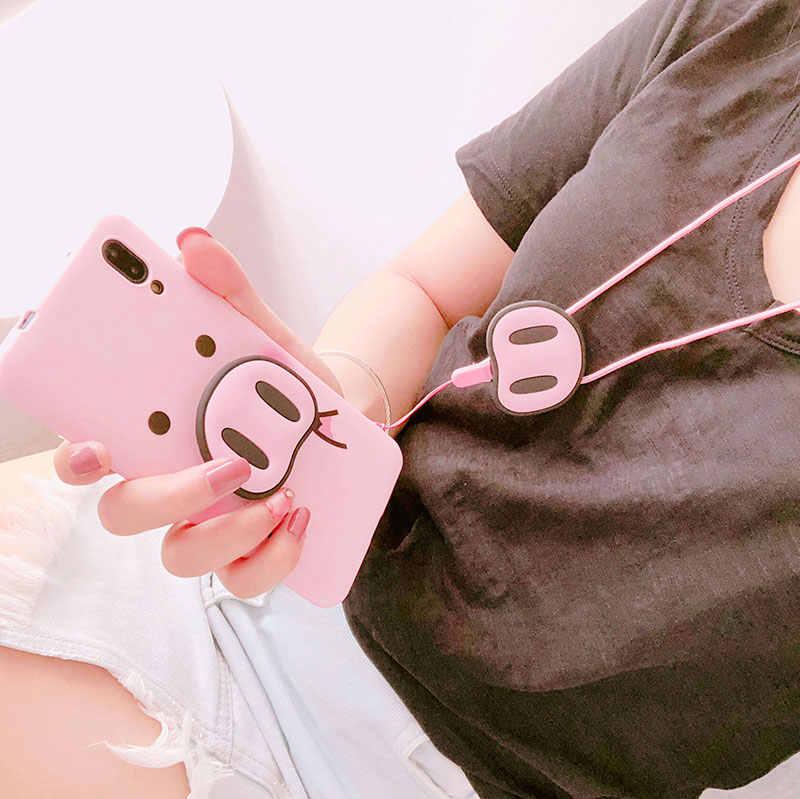Para o iphone Xs Max Xs 7 8 Plus Para Samsung S10 S8 S9 Nota 8 9 A7 A8 A50 J6 caso TPU Porco Caso Porco Nariz Macio Corda Cinta Do Telefone Caso