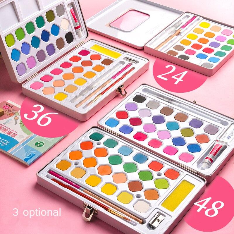 48 Color 36 Color Solid Watercolor Paint Set Paint Box Portable Iron Box Dispensing Powder Art Supplies