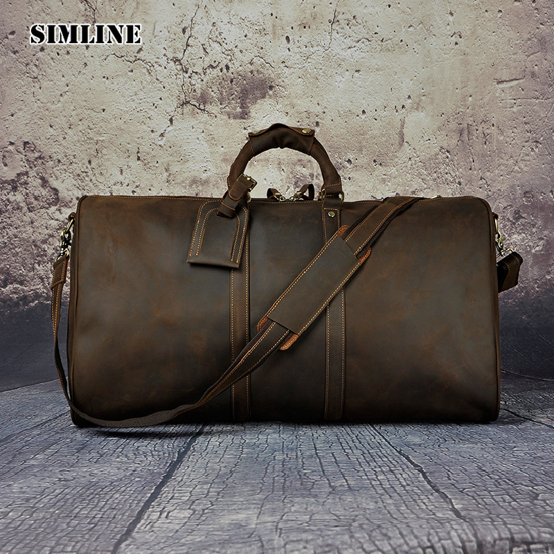 SIMLINE Vintage Genuine Crazy Horse Leather Cowhide Men Large Capacity Travel Duffle Bag Shoulder Luggage Bags Handbag For Men simline vintage casual crazy horse genuine leather real cowhide men men s travel backpack backpacks shoulder bag bags for man