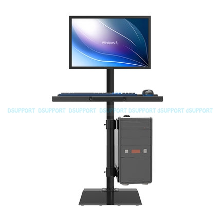 Full Rotation Free Lifting Floor Stand 10-27 inch Monitor Keyboard Tray Holder Monitor Stand Sit Stand Workstation