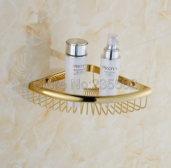 Free Shipping Wall Mounted Gold Polished Brass Bathroom Accessories / Soap / Sponge & Body Wash  Shower Storage Basket Cba099 european style brass antique bronze solid brass bathroom soap holder soap basket bathroom accessories soap dish bathroom shelf