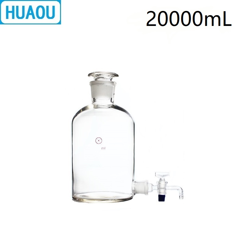 HUAOU 20000mL Aspirator Bottle 20L Transparent Clear With Ground - In Glass Stopper And Stopcock Distilled Water Wine Liquor