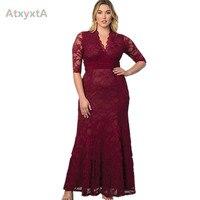 Vestido Maxi tamanho extra plus size feminino 8G, vestidos de renda um pouco preto longos femininos de marca para Primavera e Outono 2015, 4G, 5G, 6G, 7G