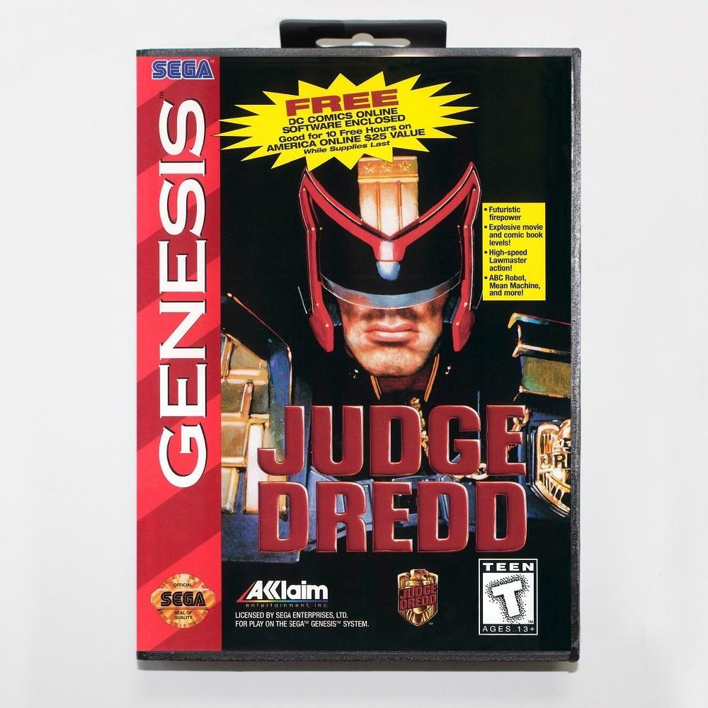 New 16 bit MD game card - judgedredd with Retail box For Sega genesis system