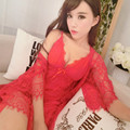 Robe + Nightdress Two Pieces women's Sleepwear Free Shipping 2016 Lace Princess Fairy Red Color Nightwear V-neck Home Wear Sexy
