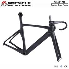 Spcycle T1000 Full Carbon Disc Brake Road Bike Frame With Handlebar Aero Racing Bicycle Carbon Frameset 100/142mm Thru Axle 2018 new carbon bike frame toray t1000 full carbon fiber disc brake bicycle frameset 46 50 52cm ceccotti bike frames