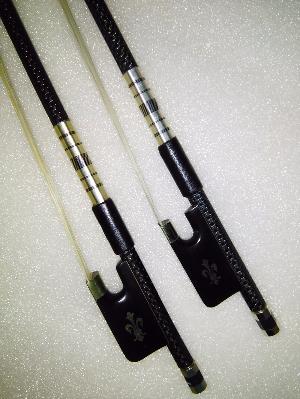 2 PCs Quality Cello bow carbon fiber bow stick ebony frog one silver wire inlay and one with red wire inlay white bow hair 2 pcs quality cello bow carbon fiber bow stick ebony frog one silver wire inlay and one with red wire inlay white bow hair