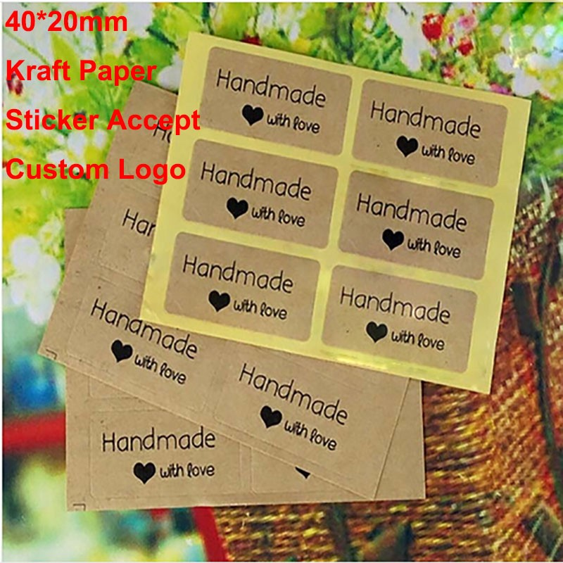 -Vintage-Handmade-Sticker-200pcs-lot-40-20mm-Kraft-Label-seal-Sticker-DIY-Hand-Made-For
