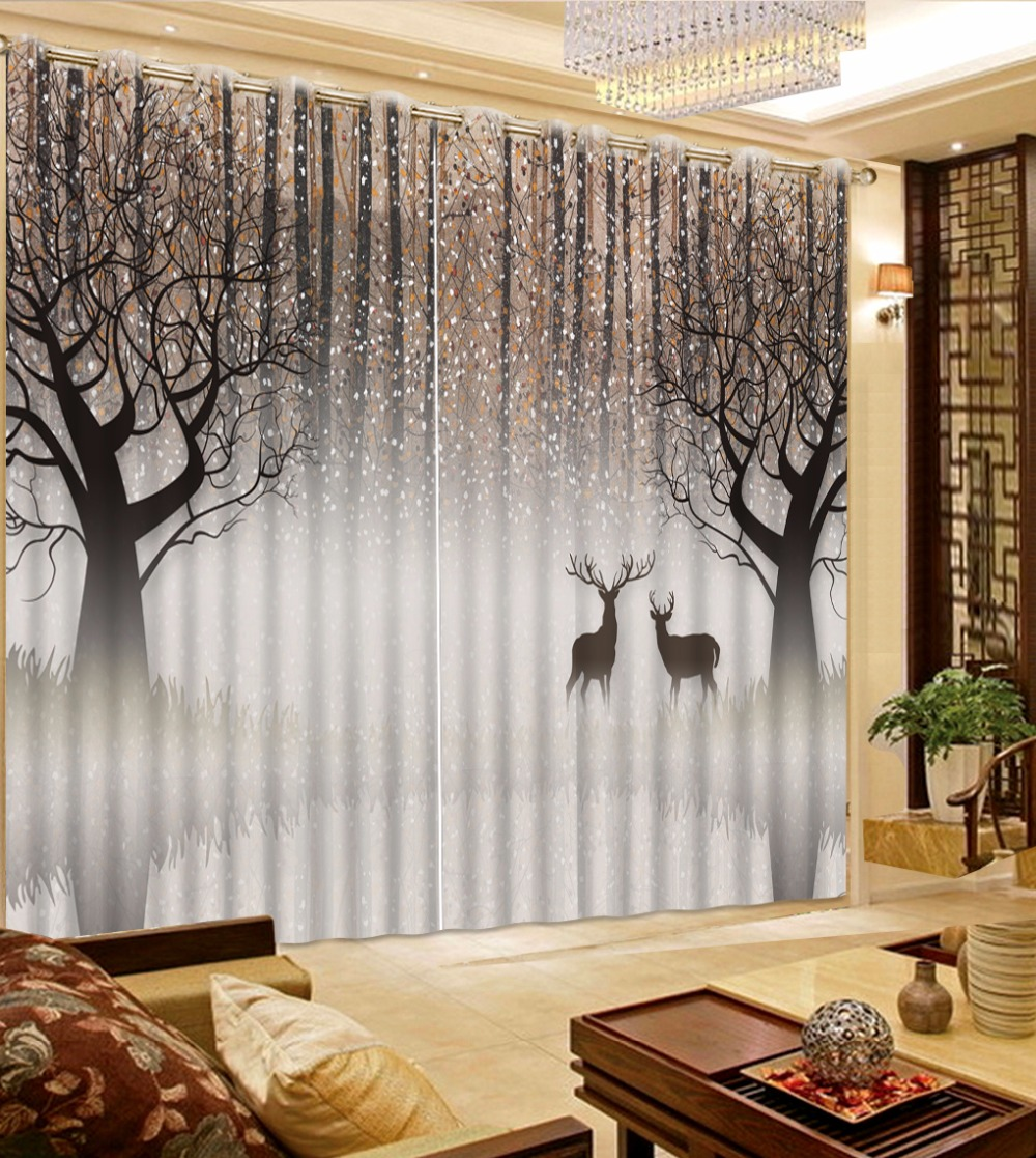 Custom Any Size 3D Curtain Forest Deer Curtain Grey Curtain Window For Living Room Blackout Shade Window Curtains