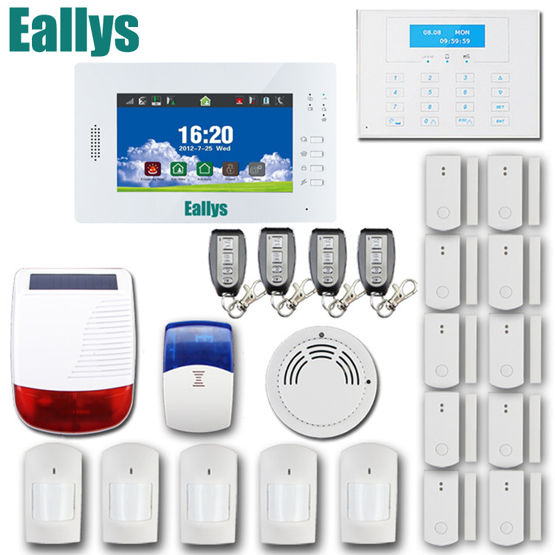 Customized Smart FSK 868MHZ alarm system with 7 inch Touch screen ,850/900/1800/1900Mhz GSM home alarm security alarm system 868mhz wireless gsm alarm system 7 inch touch screen home alarm with bulit in lithium battery with wireless outdoor solar siren