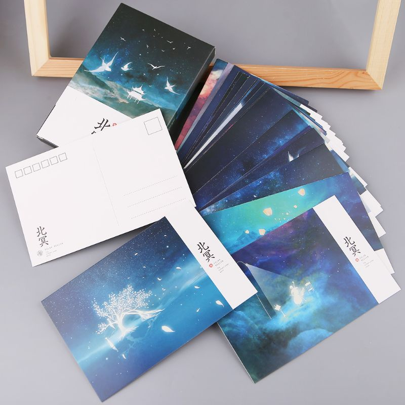 30pcs Vintage Luminous Postcard Glow In The Dark Looking At The Light Greeting Post Card Novelty Xmas Greeting Cards Gift New