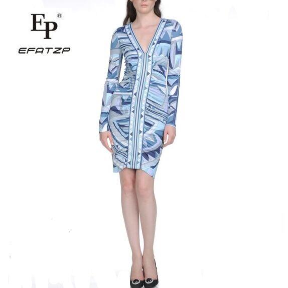 EFATZP Women s European Fashion V neck Elastic SILK JERSEY knitting beautiful Geometric Print Dress