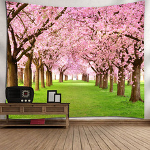 Cherry Trees Tapestry Wall Hanging Bohemian Hippie Tapestry Mandala Fabric Art Painting Landscape Boho Decor Wall Carpet Blanket