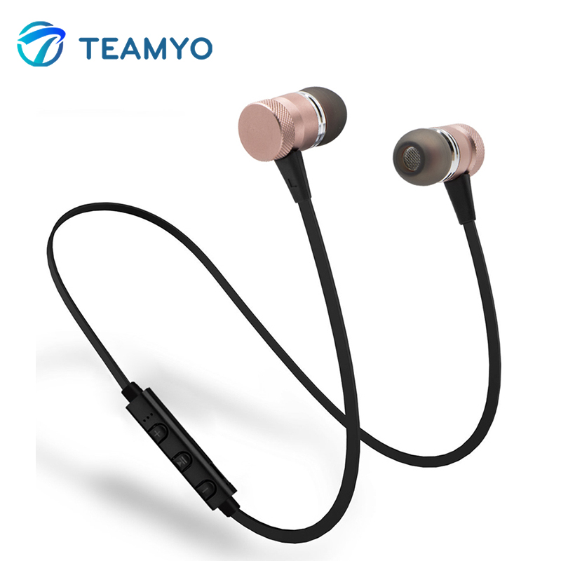 Teamyo Bluetooth Earphone Metal Magnetic Sport Running Wireless Music Headphones Stereo Super Bass Headsets Earbuds With Mic