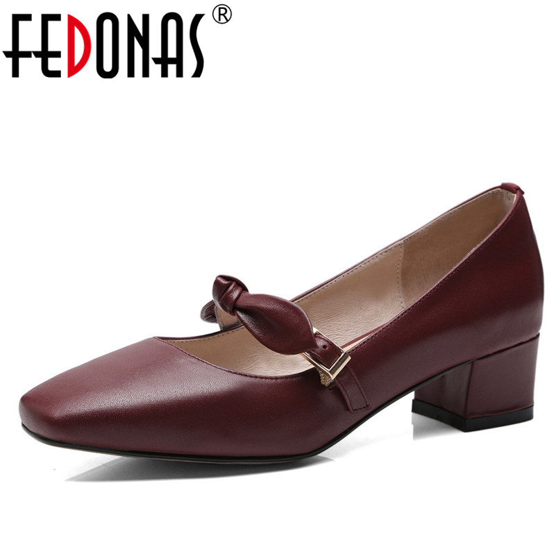 FEDONAS Retro Elegant Women High Heeled Pumps Square Toe Bowtie Buckles Wedding Party Shoes Woman Soft Leather Office Pumps New fedonas women pumps 10 5cm thin high heel summer velvet butterfly knot wedding party shoes woman fashion elegant buckles shoes